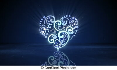 glowing neon heart shape loopable animation - glowing neon...