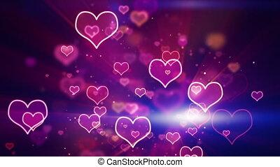 glowing neon hearts loop