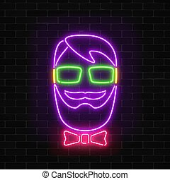 Glowing neon hipster man sign on a dark wall brick background. Man with beard, glasses and bow tie bright icon.