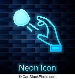 Glowing neon Hooligan shooting small stones icon isolated on brick wall background. Demonstrator. Vector