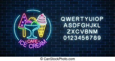 Glowing neon ice cream cafe signboard with alphabet and three kinds of ice cream. Fruit ice-cream in waffle cone.