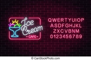 Glowing neon ice cream cafe signboard with alphabet. Gelato balls in bowl. City neon advertising street