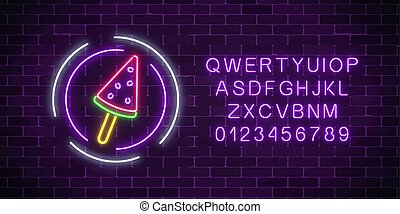 Glowing neon ice cream cafe signboard with alphabet. Watermelon ice-cream lolly. City neon advertising street sign.