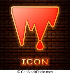 Glowing neon Icicle icon isolated on brick wall background. ...