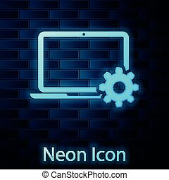 Glowing neon Laptop and gear icon on brick wall background. Laptop service concept. Adjusting app, setting options, maintenance, repair, fixing laptop concepts. Vector Illustration