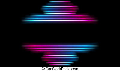 Glowing neon laser stripes abstract video animation