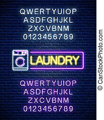Glowing neon laundry signboard with alphabet on dark brick wall background. Illuminated self-service washhouse sign working round-the-clock. Vector illustration.