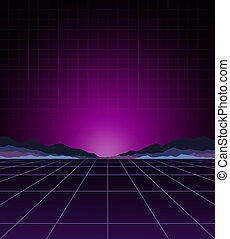 Glowing neon light. Background template. Retro video games, futuristic design, computer graphics and sci-fi technology concept.
