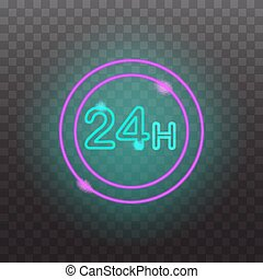 Glowing neon light signs illuminated isolated on transparent background. Design elements Vector illustration.