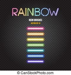 Glowing neon lights brushes in rainbow colors