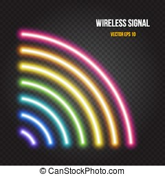 Glowing neon lights wireless signal symbol in rainbow colors