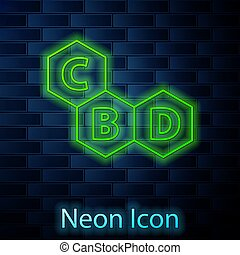 Glowing neon line Cannabis molecule icon isolated on brick ...