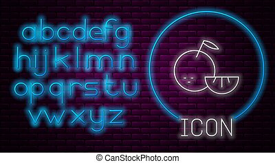 Glowing neon line Citrus fruit icon isolated on brick wall background. Orange in a cut. Healthy lifestyle. Neon light alphabet. Vector