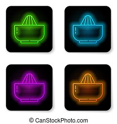 Glowing neon line Citrus fruit juicer icon isolated on white background. Black square button. Vector