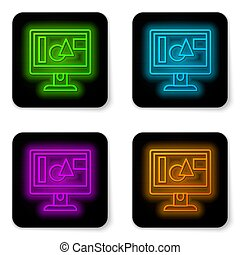 Glowing neon line Computer monitor screen icon isolated on white background. Electronic device. Front view. Black square button. Vector