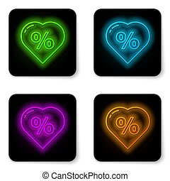 Glowing neon line Discount percent tag in heart icon isolated on white background. Shopping tag sign. Special offer sign. Discount coupons symbol. Black square button. Vector Illustration