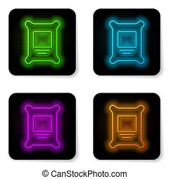 Glowing neon line Fertilizer bag icon isolated on white background. Black square button. Vector