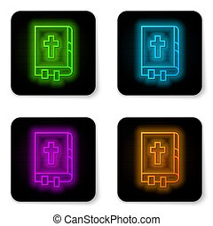 Glowing neon line Holy bible book icon isolated on white background. Black square button. Vector Illustration