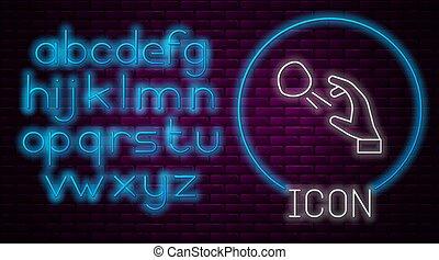 Glowing neon line Hooligan shooting small stones icon isolated on brick wall background. Demonstrator. Neon light alphabet. Vector