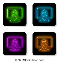 Glowing neon line Location of the forest on a map icon isolated on white background. Black square button. Vector Illustration