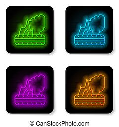 Glowing neon line Lying burning tires icon isolated on white background. Black square button. Vector