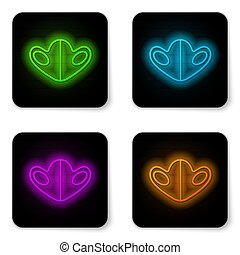 Glowing neon line Medical protective mask icon isolated on white background. Black square button. Vector