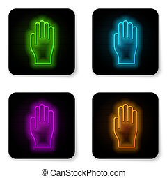 Glowing neon line Medical rubber gloves icon isolated on white background. Protective rubber gloves. Black square button. Vector Illustration