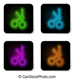 Glowing neon line Medical scissors icon isolated on white background. Black square button. Vector Illustration