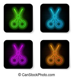 Glowing neon line Scissors hairdresser icon isolated on white background. Hairdresser, fashion salon and barber sign. Barbershop symbol. Black square button. Vector Illustration