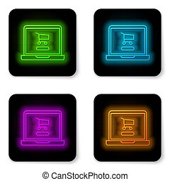 Glowing neon line Shopping cart on screen laptop icon isolated on white background. Concept e-commerce, e-business, online business marketing. Black square button. Vector Illustration