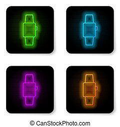 Glowing neon line Smartwatch icon isolated on white background. Black square button. Vector