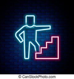 Glowing neon line Stair with finish flag icon isolated on brick wall background. Career growth business concept. Concept of business development. Colorful outline concept. Vector