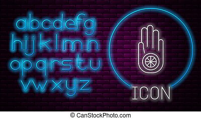 Glowing neon line Symbol of Jainism or Jain Dharma icon isolated on brick wall background. Religious sign. Symbol of Ahimsa. Neon light alphabet. Vector Illustration
