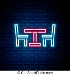 Glowing neon line Wooden table with chair icon isolated on brick wall background. Street cafe. Colorful outline concept. Vector