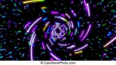 Glowing neon lines tunnel. Blue red pink and violet colorful lighting. Seamless loop 4k animation for night club.