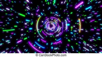 Glowing neon lines tunnel. Blue red pink and violet colorful lighting. Seamless loop 4k background.
