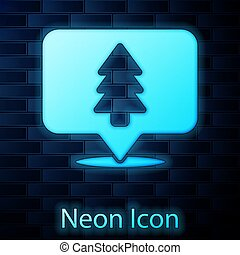Glowing neon Location of the forest on a map icon isolated on brick wall background. Vector Illustration