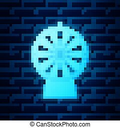 Glowing neon Lucky wheel icon isolated on brick wall background. Vector Illustration