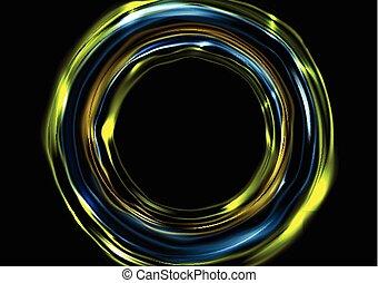 Glowing neon luminous circles on black background