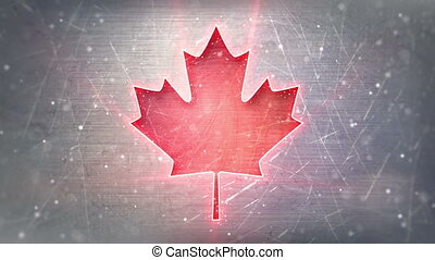 glowing neon maple leaf shape on metal loop background