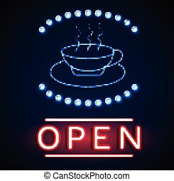 Glowing neon open signs