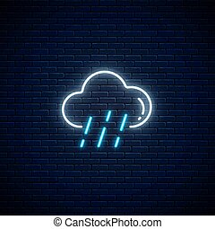 Glowing neon rainy weather icon. Rain symbol with cloud in ...
