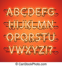 Glowing Neon Red Alphabet