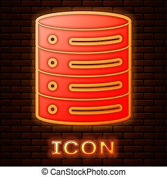 Glowing neon Server, Data, Web Hosting icon isolated on brick wall background. Vector