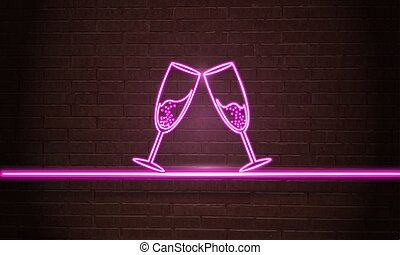 Glowing neon sign of champagne.