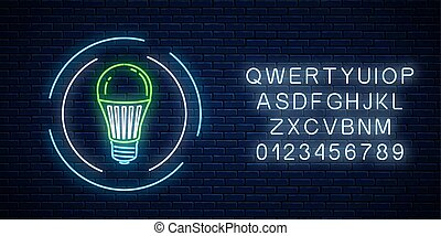 Glowing neon sign of green led light bulb in circle frame with alphabet. Eco energy concept symbol.