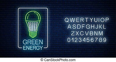 Glowing neon sign of green led light bulb with energy conversation text in rectangle frame with alphabet