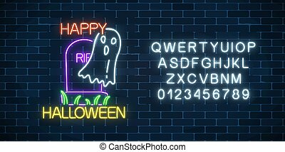 Glowing neon sign of halloween banner design with ghost from...