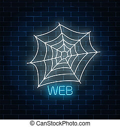 Glowing neon sign of spyder web banner design. Bright...