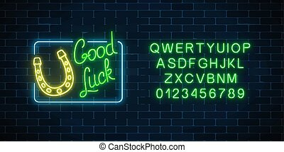 Glowing neon sign with good luck wish and horseshoe in rectangle frame with alphabet. Hand drawn horse shoe for luck.